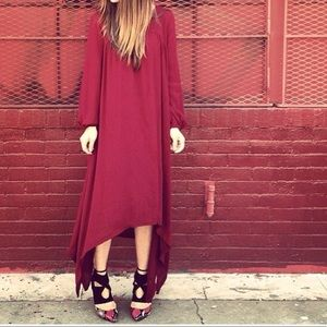 Dresses & Skirts - Burgundy loose fit asymmetrical maxi dress